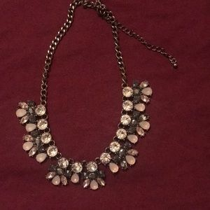 silver and baby pink statement necklace